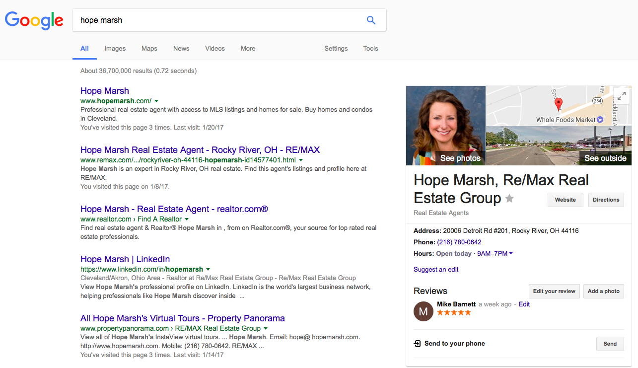 Google search results for Hope Marsh